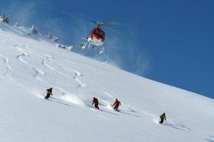 heli skiing powder